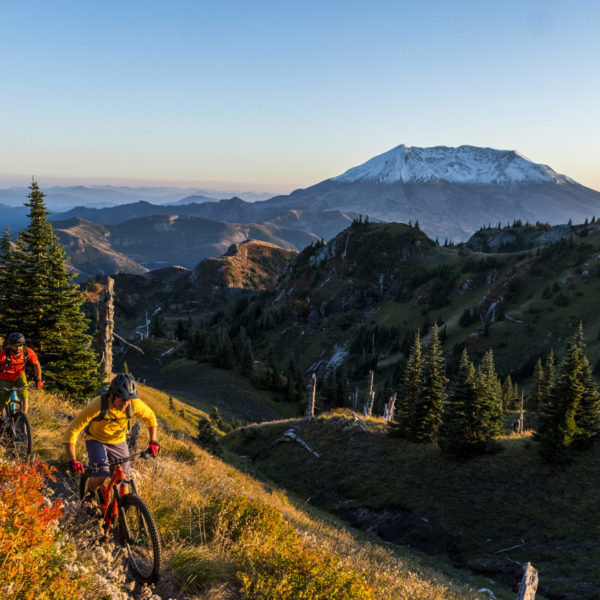 Jameson Florence and TIm Souquet riding the Boundry Trail on the N side of Mt St Helens. Imagery is model released.