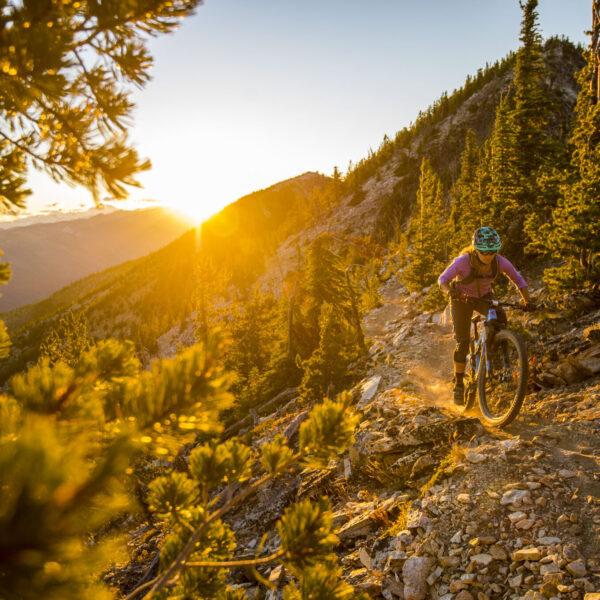 Nikki Rohan riding the Devil's Backbone Trail high above the Entiat River near Lake Chelan in Central Washington.