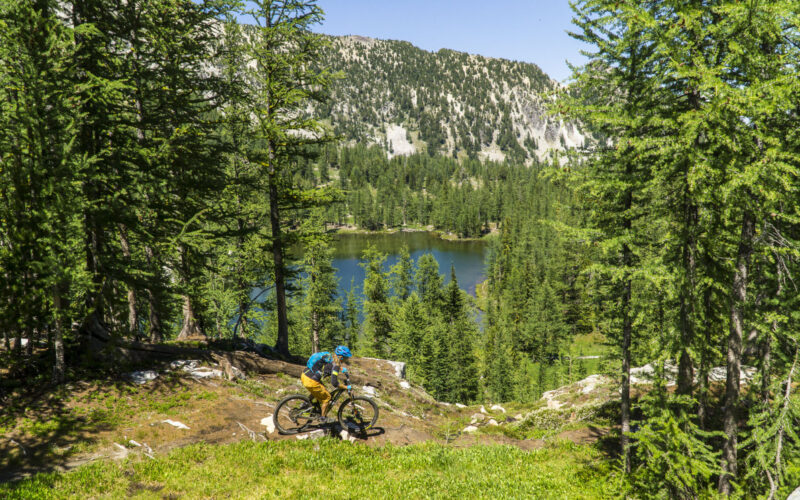 Nikki Rohan riding the Angel's Staircase loop in the high Alpine of Washington State's North Cascade Mountains near Twisp, WA
